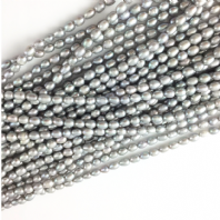 Cultured Rice FreshWater Pearl Beads 6-7mm Lt Grey